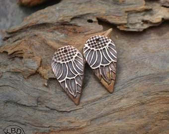 Flower Drop Copper Earring Charms (1 pair) #503
