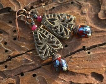 Elvin, Lampwork and Filigree Earrings #260