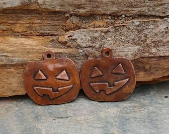Copper Pumpkin Jack O Lantern face pair