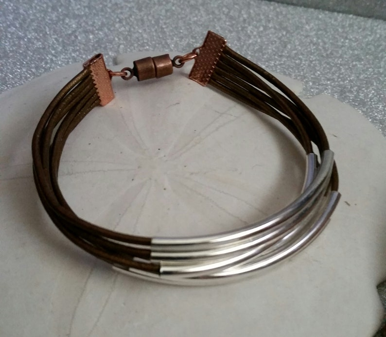 Womens braceletmulti cord leatherleather jewelryleather and silverbeaded leather braceletcuff braceletbanglehandmadewomen/'s jewelry