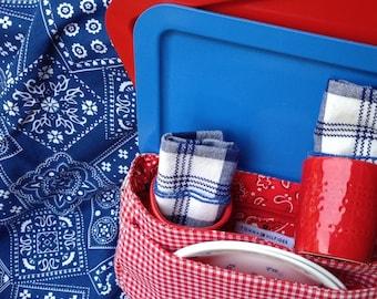 Picnic Basket - Bandana Print Picnic Tablecloth - Lunch Trays, Plates, Plaid Napkins, Tag Cups - Item #P0032