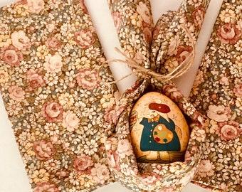 Vintage Cotton & Linen Appliquéd Napkins - Set of 6 - Dinner - Luncheon - Brunch - Spring - Easter -  N0059