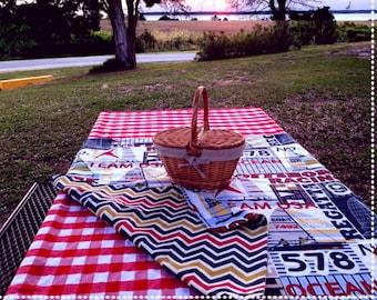 "Picnic Tablecloth - Nautical Print - Napkins Optional -  Crate & Barrel ""Table in a Bag"" - Reversible - T0128"