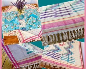 """FREE SHIPPING - Boho Fringed Picnic Cloth - Vintage Placemats and Napkins - Table Cloth/Throw - Fits C&B """"Table in a Bag"""" (Item #T0136)"""