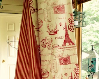 Parisian Table Runner - Red & Cream Colors - 90 inches Length - Wedding Gift - Reversible  - Machine Washable - Item #TR0009