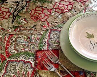 "Vintage Parisian Appliqué Tablecloth - Wedding Gift - Handmade Tablecloth (49"" x 44"") &  2 Luncheon Napkins - Item #T0127"