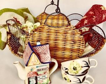 Gift Picnic Basket or Tea Set - Cafe Tablecloth - Vintage Tea Cups & Linen Napkins - Item #T0136