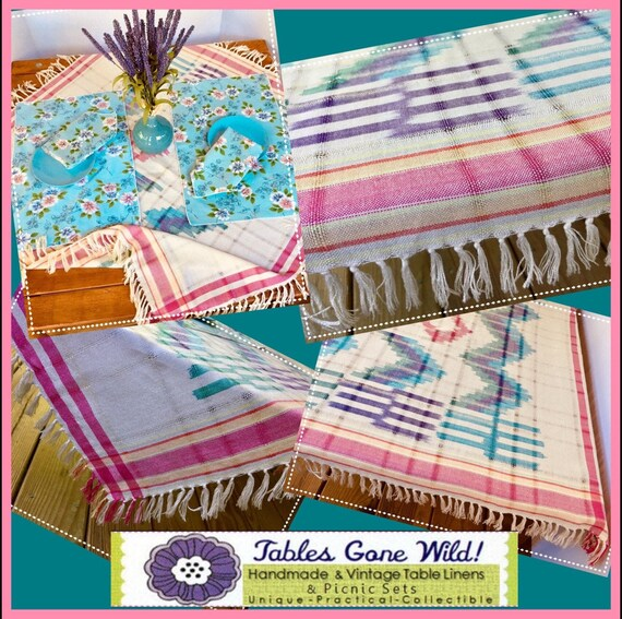 FREE SHIPPING   Boho Fringed Picnic Cloth   Vintage Placemats And Napkins    Table Cloth/Throw   Fits Cu0026B U201cTable In A Bagu201d (Item #T0136)