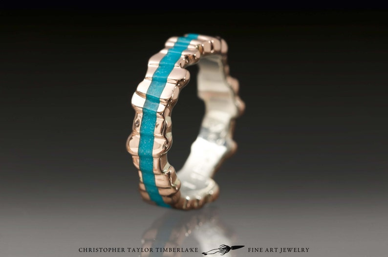 6d61dc289a17d Cuttlefish Cast 14K Rose Gold Ring with Turquoise Inlay