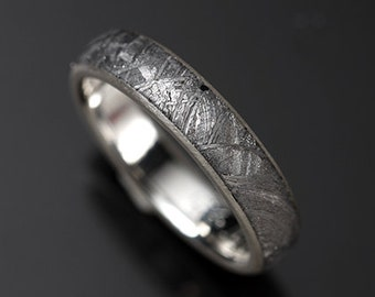 Sterling Silver and Meteorite Ring