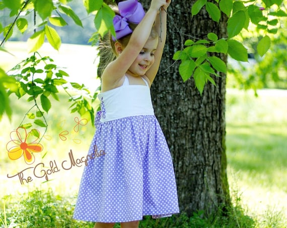 Girls Lavender and Eyelet Summer Dress Lavender Polka Dot Big Bow Dress - White Eyelet Dress - Lavender Dress - Easter Dress