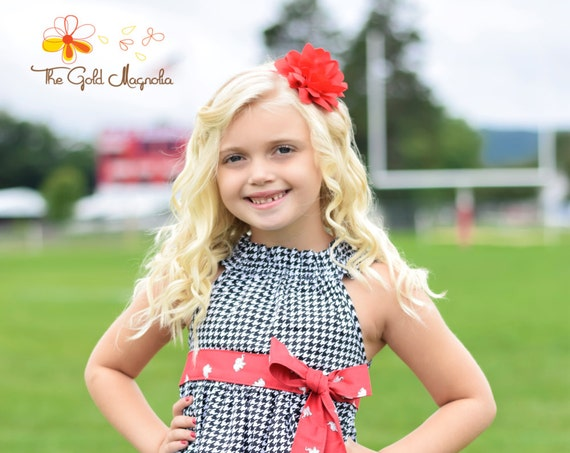 University of Alabama Dress - Alabama Dress - Girls Black and Red Dress - Girls Houndstooth Dress - Elephant Dress - Football Dress