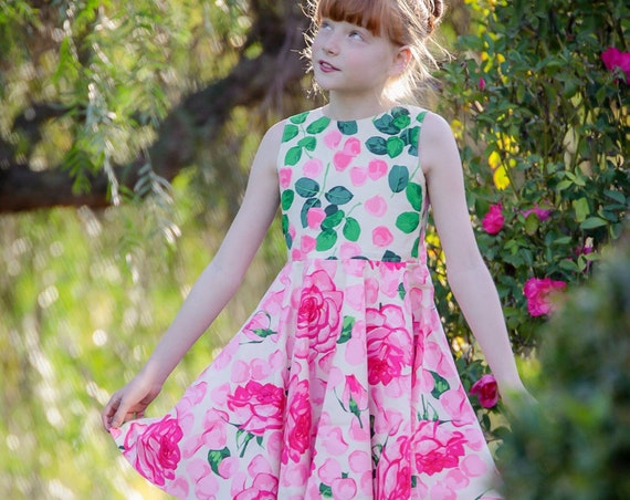 Girls Rose Dress - Pink Floral Dress -  Pink Dress - Twirl Dress - Circle Skirt Dress - Rose Garden - Pink Rose Circle Skirt