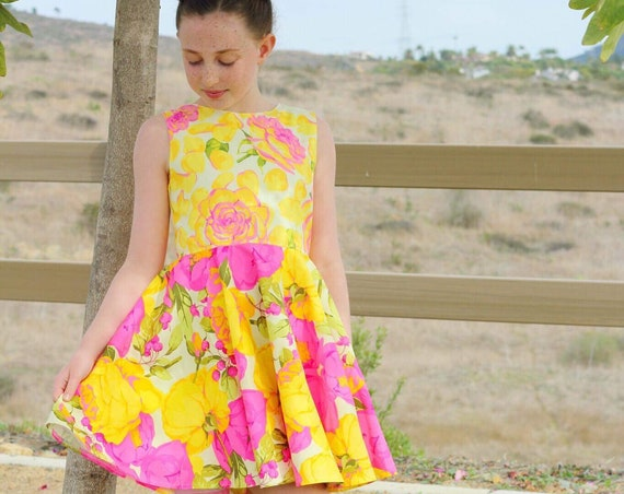 Girls Pink Rose Dress -  Yellow Rose Dress - Twirl Dress - Circle Skirt Dress - Rose Garden - Pink Rose Circle Skirt - Yellow and Pink Dress