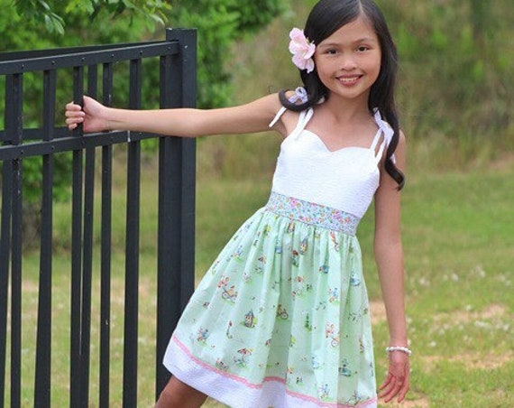 Girls Springtime in Paris Dress - White Eyelet Dress - Paris Dress