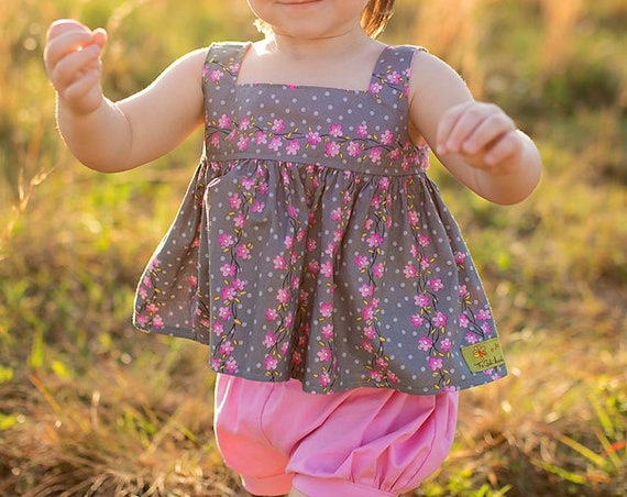 Girls Two Piece Short Set Pink Floral - Open Back Summer Top with Big Bow - Bubble Short Set with Pink Floral Top
