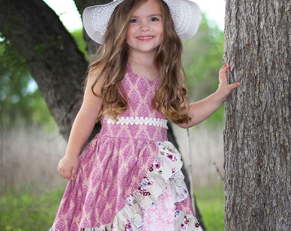 Girls Pink and Gold Shimmer Ruffled Dress - Open Back Pink Dress - Victorian Summer Dress - Rose Easter Dress