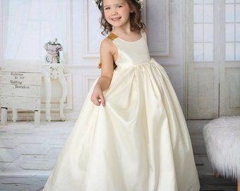 2e66fcd637c Girls Satin Flower Girl Gown - Flower Girl Dress - Wedding Junior  Bridesmaid Dress - Girls Ivory Maxi