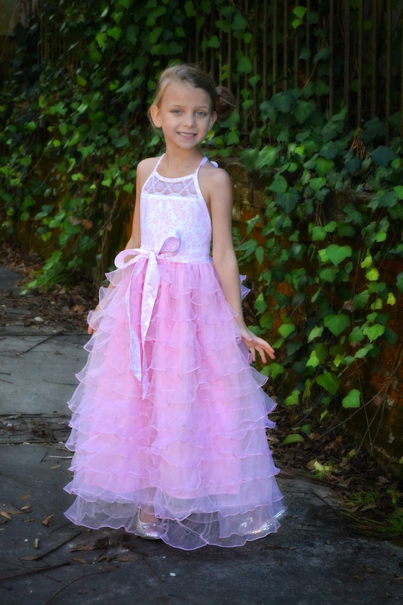 Girls Pink Halter Maxi - Pink Flower Girl Dress - Girls Pink Ruffled Maxi - Girls Formal Maxi - Girls Easter Dress