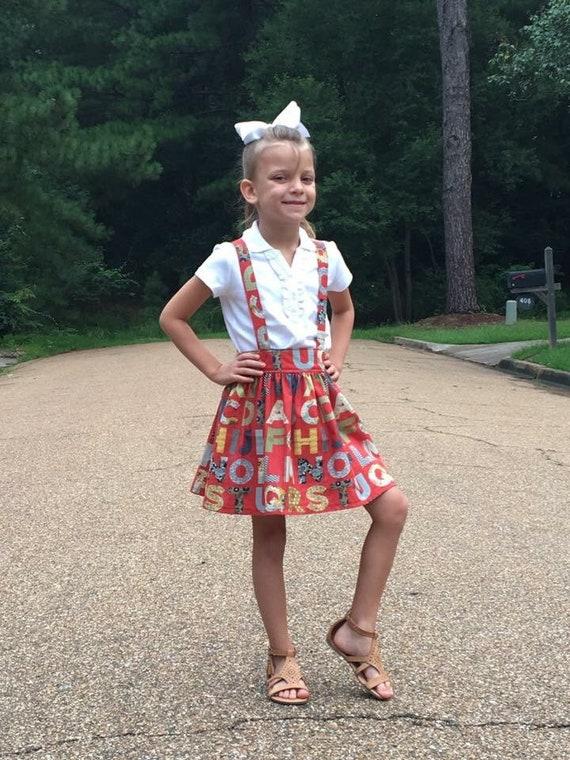 Girls Alphabet Suspender Skirt – Back to School Skirt - Vintage Style Skirt – Fall Boutique Skirt - ABC Suspender Skirt