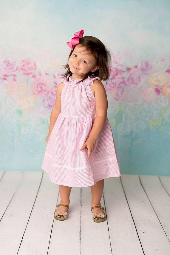 Girls Pink Seersucker Dress - Seersucker Dress - Pink Summer Dress