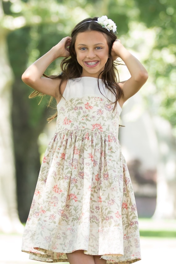Girls Linen and Lace Dress - Purple and Coral Floral Dress w Antique Style Lace -Ivory Lace Dress - Girls Twirl Dress
