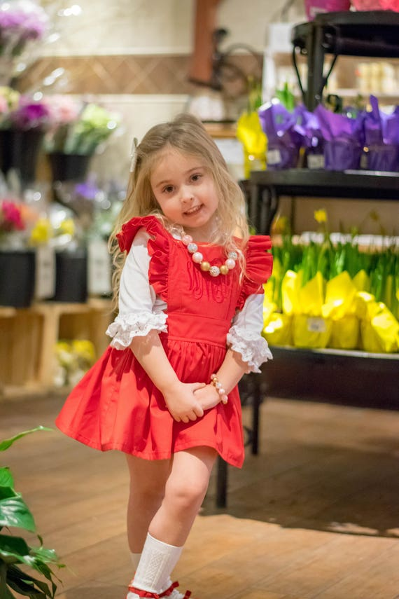 Girls Red Pinafore - Valentine Pinafore Skirt - Monogrammed Pinafore