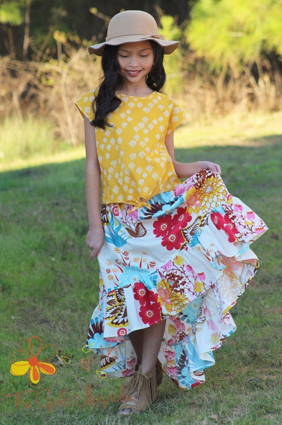 Girls Floral Skirt snd Mustard Top - Girls Maxi Skirt Set - Girls Boho Dress