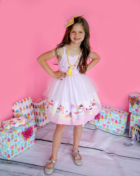 Girls Ice Cream Dress - Girls Birthday Dress - Girls Ice Cream Museum Dress - Girls Party Dress - Ice Cream Social