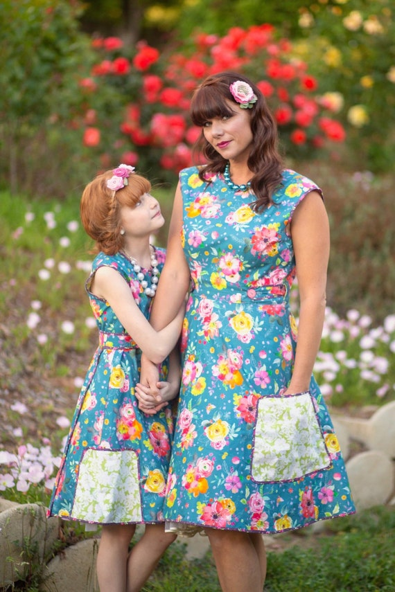 Misses Blue Floral Wrap Dress with Pockets  - Misses Vintage Wrap Dress  - Mommy and Me