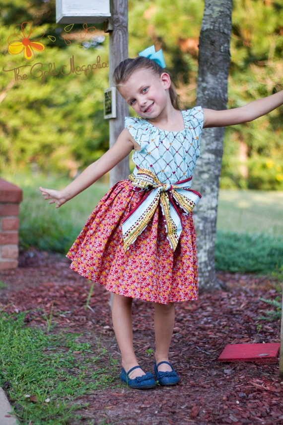 Red Dress - Chick Dress - Yellow Bird Dress - Blue Bird Dress - Red Bird Dress - Blue Peasant Dress - Trwirly Dress