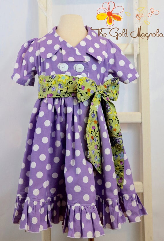 Girls Lavender Purple Polka Dot Coat Dress - Vintage Style Shirt Dress - Purple Dress