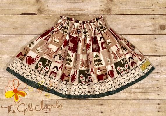 Girls Christmas Skirt - Vintage Print Christmas Skirt - Patchwork Christmas Skirt - Lace Christmas Skirt