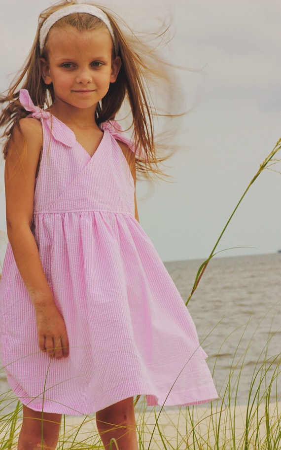 Girls Pink Seersucker Shoulder Tie Dress - Pink Dress - Pink Seersucker - Monogrammed Dress - Summer Pink Dress