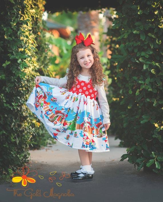 Girls Christmas Pinafore – Christmas Gnome Dress – Christmas Peppermint Swirl Dress  - Red Christmas Dress