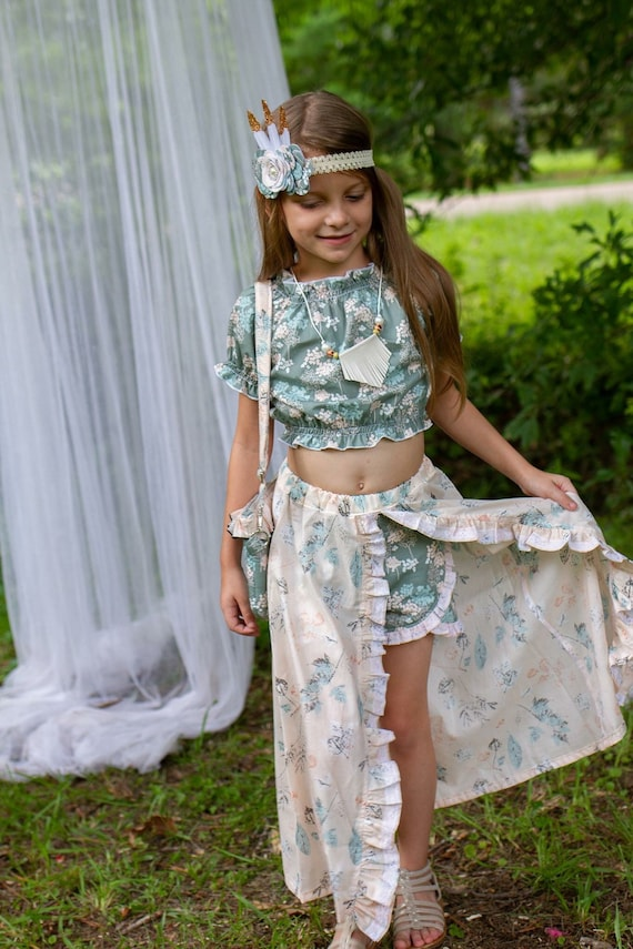 Girls Bohémien Set - Floral Shorts and Split  Skirt Set