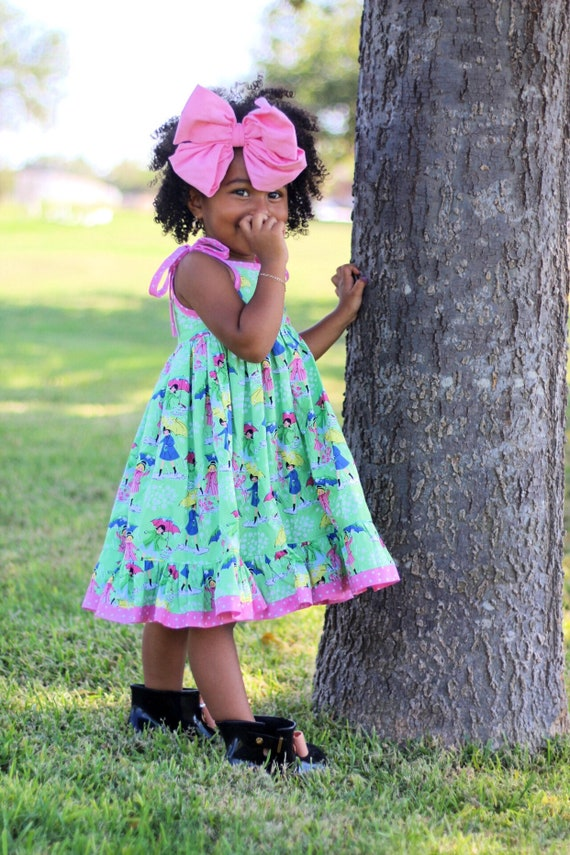 Girls Umbrella Dress - Vintage Style Print Dress - Umbrella and Rain Boots Twirl Dress - Summer Twirl Dress