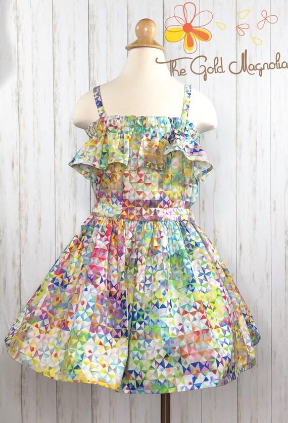 Girls Rainbow Prism Twirl Dress - Kaleidoscope Dress - Beach Twirl Dress - Rainbow Twirl Dress