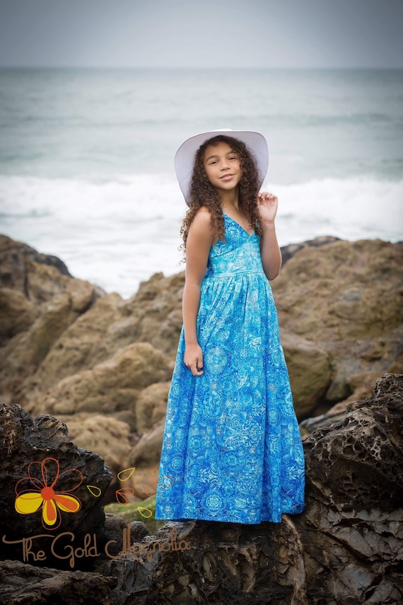 Boheme Sea Blue Maxi Dress - Blue Beach Dress