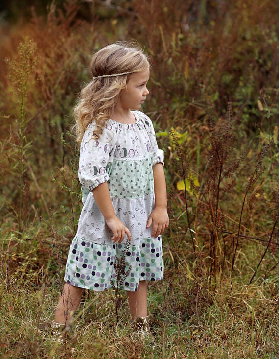 Girls Hedgehog Dress - Peasant Dress - Polka Dot Dress - Fall Peasant Dress - Lavender Dress