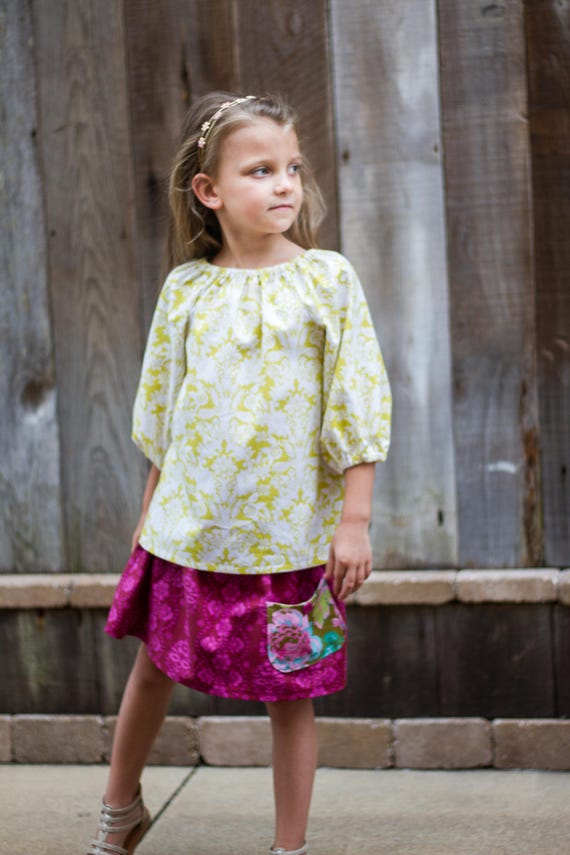 Girls Peasant Top and Skirt Set - Back to School -  Floral Skirt and Top Set - Skirt with Pocket - Gold Peasant Top