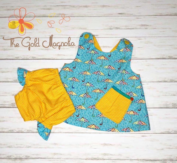Girls Umbrella Cross Over Top and Bloomer Set