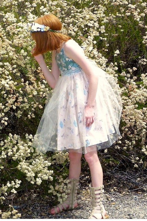 Girls Garden Fairy Dress - Easter Dress - Tulle Dress