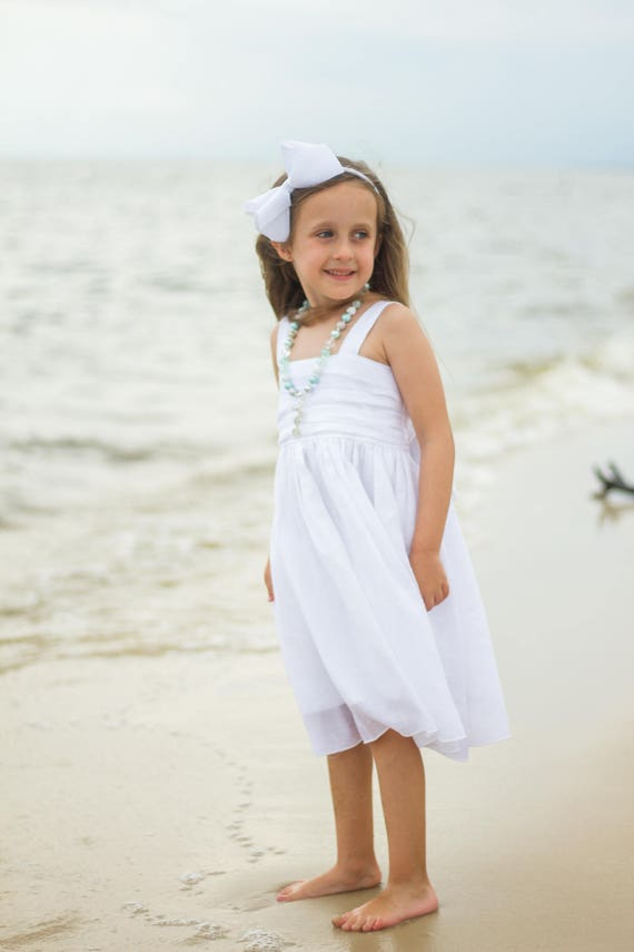 Girls White Beach Dress - White Gauze Dress - Girls White Flower Girl Dress - White Junior Bridesmaid Dress - Girls White Dress