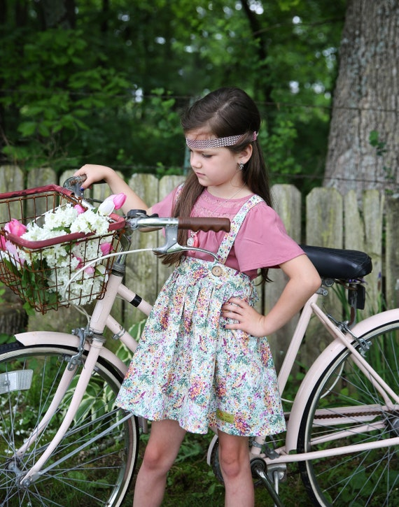 Girls Fall Floral Suspender Skirt – Vintage Style Skirt – Fall Boutique Skirt - Purple Suspender Skirt