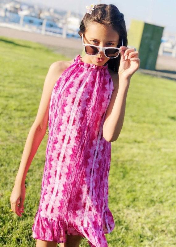 Girls Gauze Tie Dye Style Dress - Bohemian Dress - Pink Tie Dye Dress