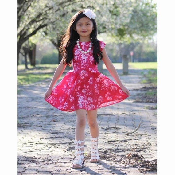 Girls Rose Dress - Pink Floral Dress -  Pink Dress - Twirl Dress - Circle Skirt Dress - Rose Easter Dress - Girls Easter Dress -