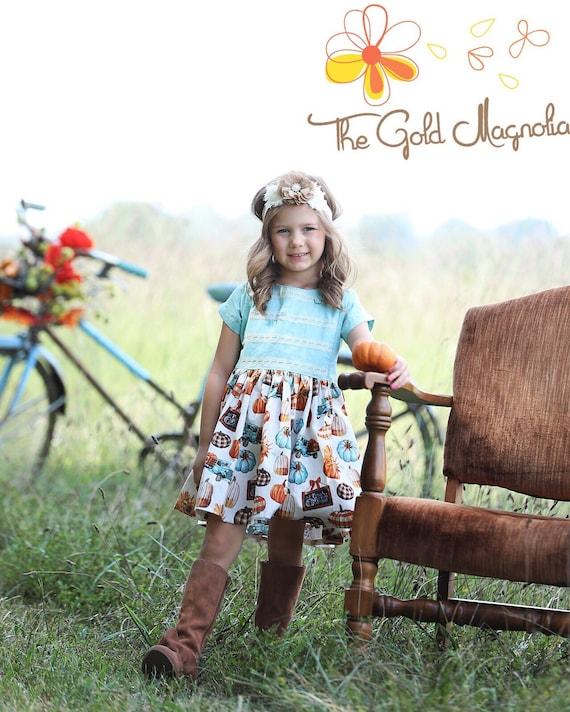 Girls Pumpkin Dress - Pumpkin Patch Dress - Girls Thanksgiving Dress