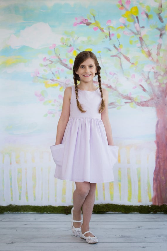 Girls Lavender Sundress- Lavender and Lace Dress  - Full Skirt with Pockets  - Girls Dress