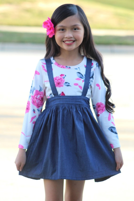 Girls Denim Suspender Skirt - Denim skirt